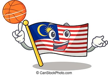 With basketball flag malaysia in the cartoon shape vector...