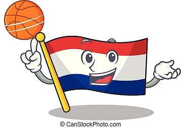 With basketball flag netherlands isolated in the character...