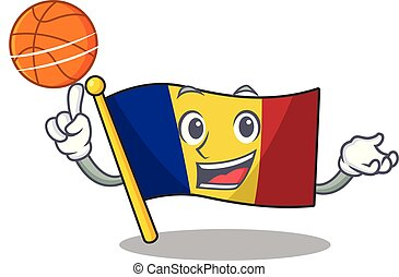 With basketball flag romania isolated with the mascot vector...