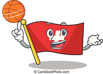 With basketball flag switzerland with the mascot shape...