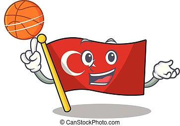 With basketball flag turkey character on shaped cartoon