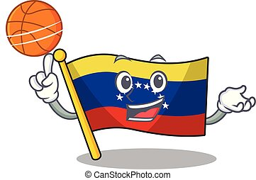 With basketball flag venezuela with the cartoon shape vector...