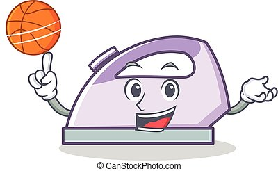 With basketball flat iron character vector art