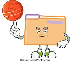 With basketball folder for saving a file document
