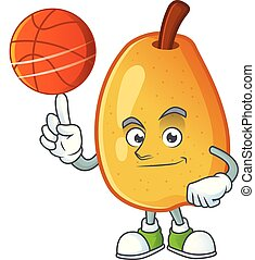 With basketball fragrant pear in cartoon character style...