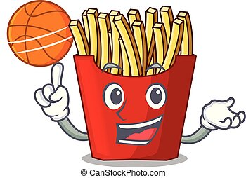 With basketball french fries above cartoon table wood