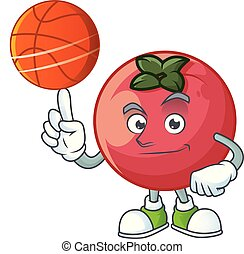 With basketball fresh velvet apple in cartoon mascot vector...