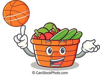 With basketball fruit basket character cartoon