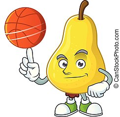 With basketball fruit pear cartoon character with mascot...