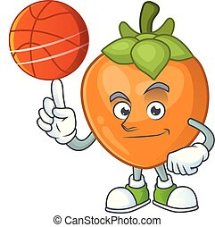 With basketball fruit persimmon character for object cartoon...