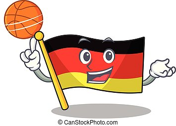 With basketball germany flag cartoon isolated the mascot...
