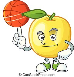 With basketball golden apple with cartoon character style...