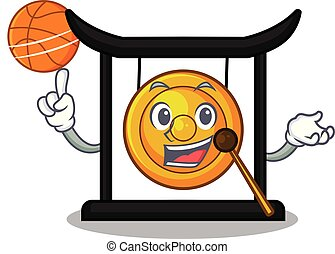 With basketball goldeng gong in the character shape vector...