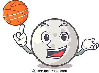With basketball golf ball character cartoon