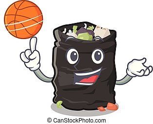 With basketball grabage bag isolated with the mascot vector illustration