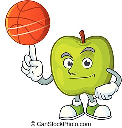 With basketball granny smith in a green apple character...
