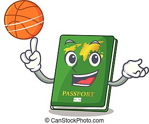 With basketball green passport in a character bag vector...
