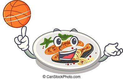 With basketball grilled salmon isolated in the mascot