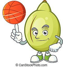 With basketball gubinge fruit cartoon for harvest symbol...