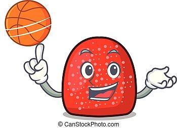 With basketball gumdrop character cartoon style vector ...