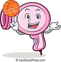 With basketball hair dryer character vector