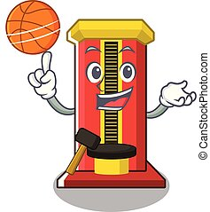 With basketball hammer cartoon shaped character game machine...