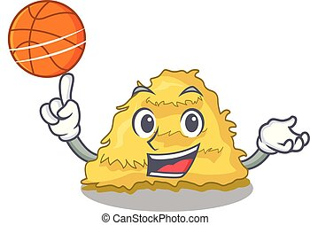 With basketball hay bale character cartoon vector...