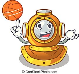 With basketball helmet diving in the mascot shape vector...