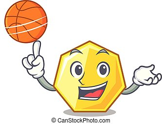 With basketball heptagon in the a cartoon shape vector...