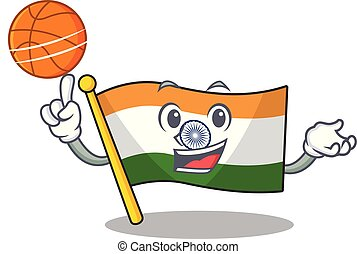 With basketball Indian flag kept in cartoon drawer