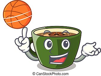 With basketball indian masala tea in cartoon glas