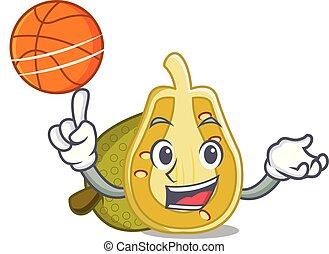 With basketball jackfruit character cartoon style vector...