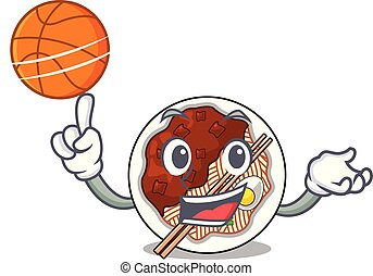 With basketball jajangmyeon isolated with the a cartoon...