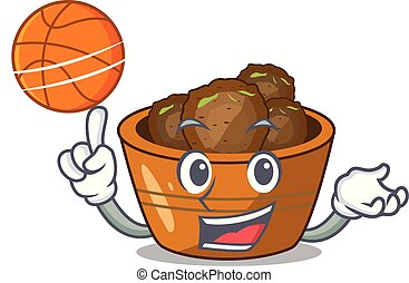 With basketball jamun gulab in a cartoon bowl