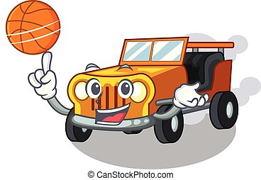 With basketball jeep car isolated with the cartoon vector...