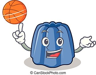 With basketball jelly character cartoon style