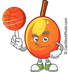 With basketball jocote fruit with character cartoon mascot....
