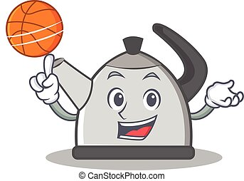 With basketball kettle character cartoon style vector...