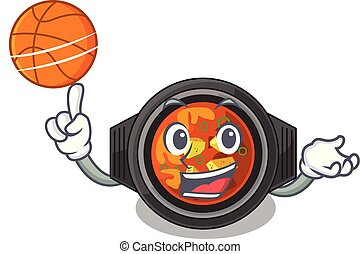 With basketball kimchi tighe served in mascot bowl vector...
