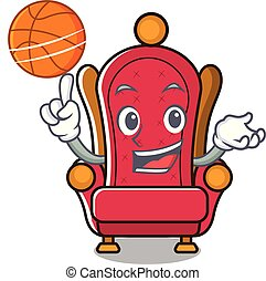 With basketball king throne character cartoon