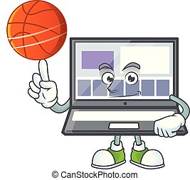 With basketball laptop with a cartoon character style vector...