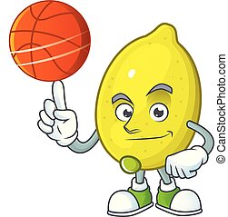 With basketball lemon cartoon character for recipe food...