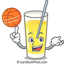 With basketball lemonade character cartoon style