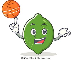 With basketball lime character cartoon style