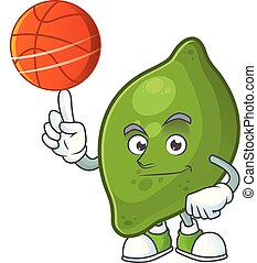 With basketball lime fruit character on white background...