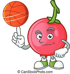 With basketball lovi lovi fruit in character mascot vector...