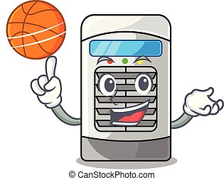 With basketball mascot air cooler mounted on wall vector...
