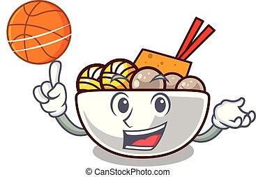 With basketball meatball fried on the cartoon plate vector...