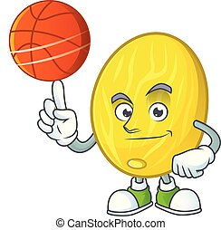 With basketball melon cartoon character for dessert mascot...