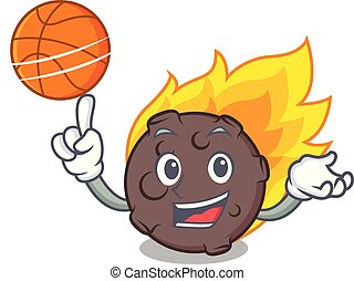 With basketball meteorite character cartoon style